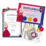 Diploma uitnodiging kleurplaat prinsessenfeestje